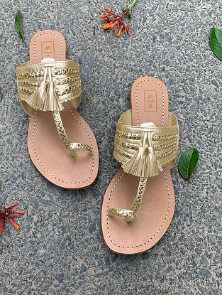 Gold Handcrafted Leather Kolhapuri Flats