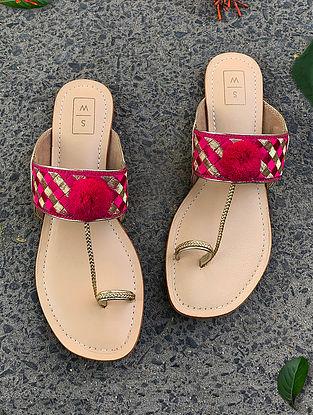 Rani Pink Handcrafted Leather Kolhapuri Flats