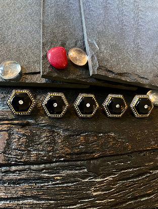 Polki Diamond Silver Kurta Button with Black Onyx (Set of 5)