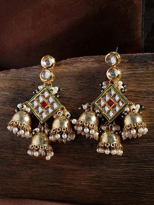 Red Gold Tone Kundan Jhumki Earrings