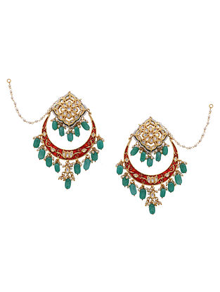 Red Green Gold Tone Kundan Enameled Earrings With Ear Chains