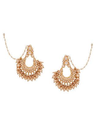 Gold Tone Kundan Earrings With Ear Chains
