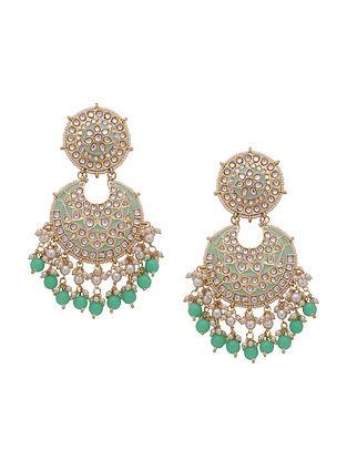 Turquoise Gold Tone Kundan Enameled Earrings