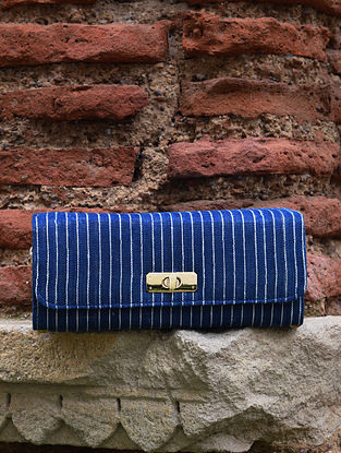 Blue White Handcrafted Cotton Sling Bag