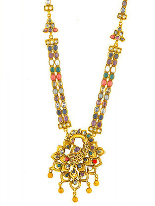 Gold Plated Sterling Silver Navratan Necklace