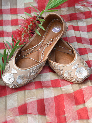 Beige Hand Embroidered Cotton Leather Juttis
