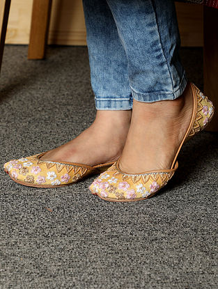 Yellow Hand Embroidered Cotton Leather Juttis