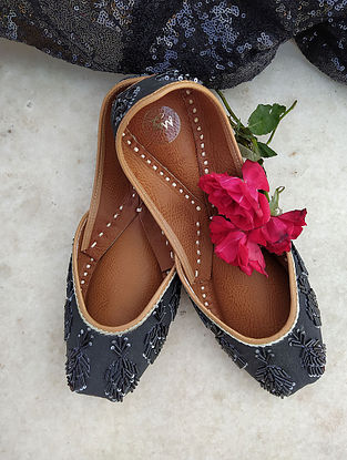 Black Hand Embroidered Cotton Leather Juttis
