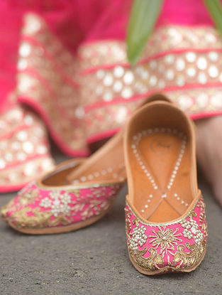 Pink Hand Embroidered Cotton Leather Juttis