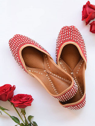 Red Hand Embroidered Cotton Leather Juttis
