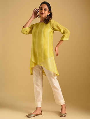 Yellow Cotton Chanderi Tunic