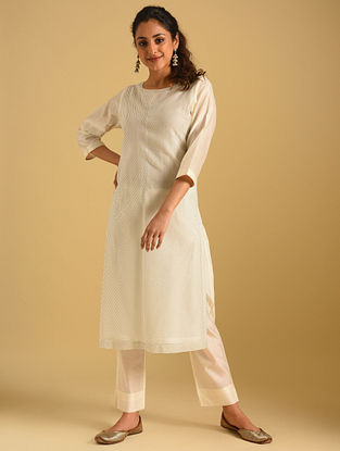 Ivory and Black Striped Cotton Kurta with Cotton Lining