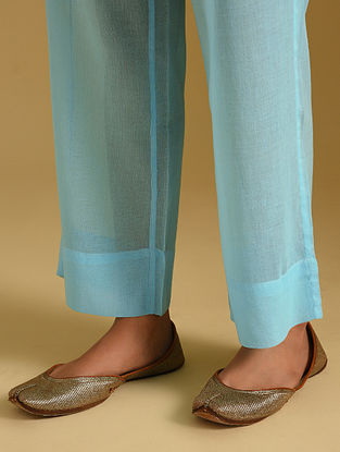 Turquoise Cotton Pants