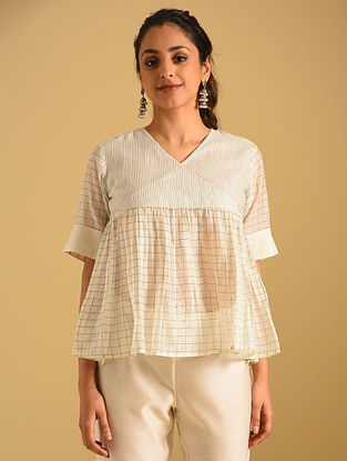 Ivory and Black Striped Cotton Top with Cotton Lining