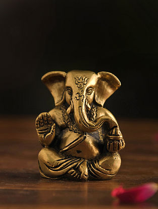 Brass Ganesh Table Top Accent (L-1.5in, W-2.2in, H-3in)