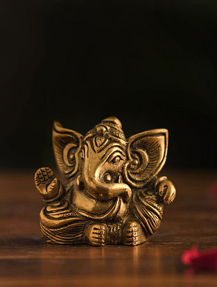 Brass Ganesh Table Top Accent (L-1.5in, W-3.4in, H-2.5in)