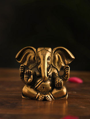 Brass Ganesh Table Top Accent (L-2in, W-3.7in, H-3.2in)