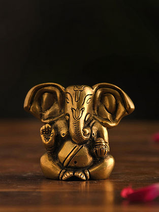 Brass Ganesh Table Top Accent (L-1.5in, W-3in, H-3.2in)