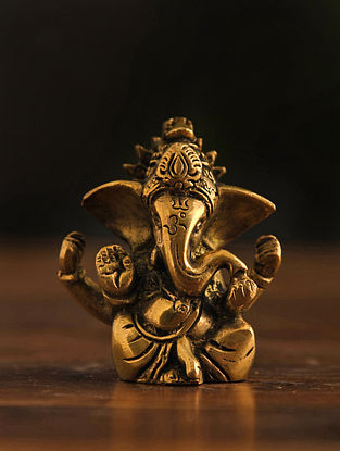 Brass Ganesh Table Top Accent (L-1in, W-2.1in, H-2.5in)