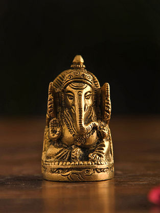 Brass Ganesh With Base Table Top Accent (Dia-1.5in, H-2.6in)