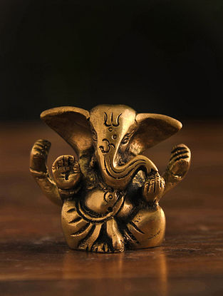 Brass Ganesh Table Top Accent (L-1in, W-2.3in, H-2in)