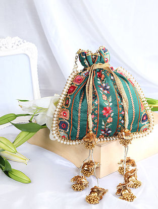 Green Hand Embroidered Silk Potli