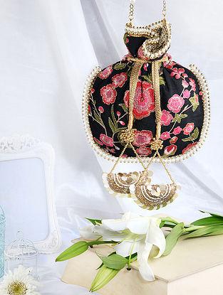 Black Hand Embroidered Raw Silk Potli