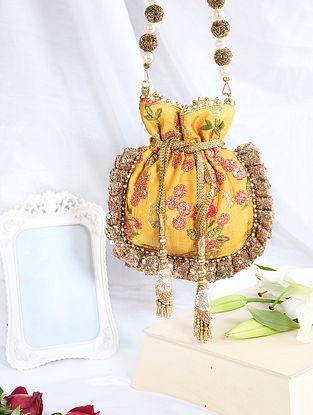 Yellow Hand Embroidered Raw Silk Potli