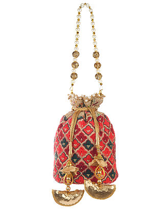 Red Hand Embroidered Cotton Potli