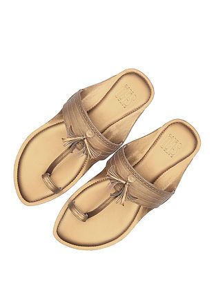 Gold Handcrafted Leather Kolhapuri for Men