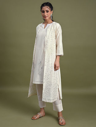 Ivory Mirror Work Chanderi Jacket with Cotton Lining