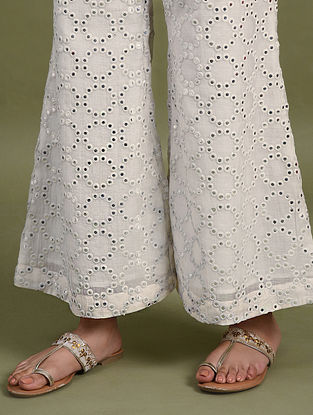 Ivory Mirror Work Chanderi Palazzos with Cotton Lining