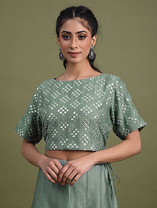 Green Mirror Work Chanderi Blouse with Cotton Lining