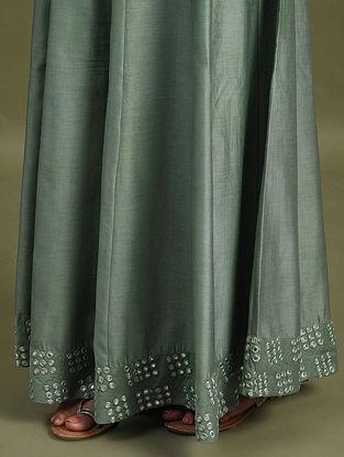 Green Mirror Work Chanderi Skirt with Cotton Lining