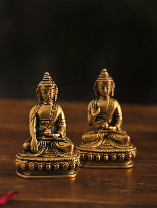 Brass Buddha Table Top Accent Set Of 2