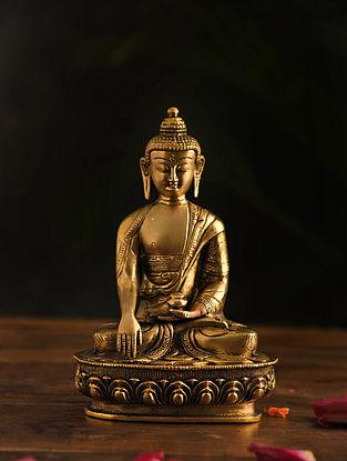 Brass Ashtamangal Buddha Table Top Accent (L-3in, W-5.5in, H-8.2in)