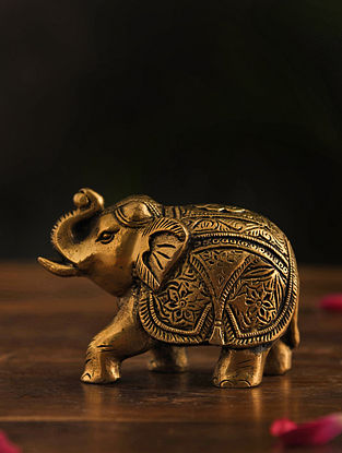 Brass Elephant Table Top Accent (L-4in, W-2in, H-4in)