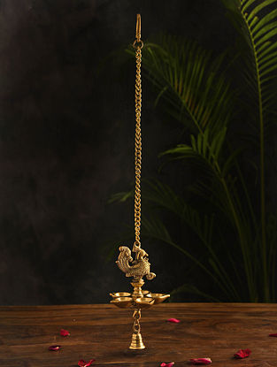 Brass Hanging Lamp (L-26.5in, W-5in)