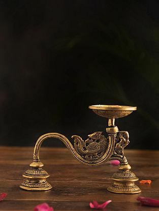 Brass Aarti Diya (L-7.2in, W-2.5in, H-5in)