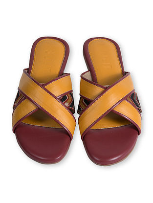 Yellow Handcrafted Faux Leather Flats