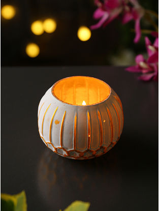 Ivory and Gold Glass Votive (Dia-4in, H-3.5in)