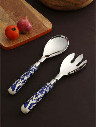 Ceramic and Stainless Hand Painted Salad Servers (L-11in, Dia-2.75in, H-1in)