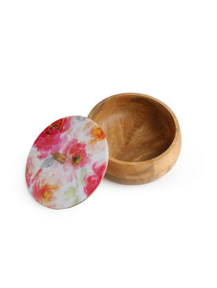 Floral Enamelled Wooden Dahi Box (Dia-8.5in, H-4in)