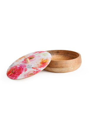 Floral Enamelled Wooden Roti Box (Dia-10in, H-4in)