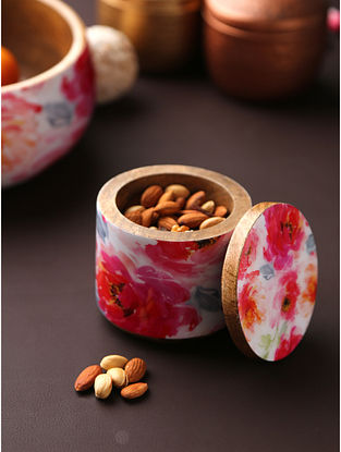 Floral Enamelled Wooden Dry Fruit Box (Dia-4in, H-4in)