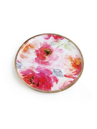 Floral Enamelled Wooden Platter (L-11in,W-11in, H-1in)