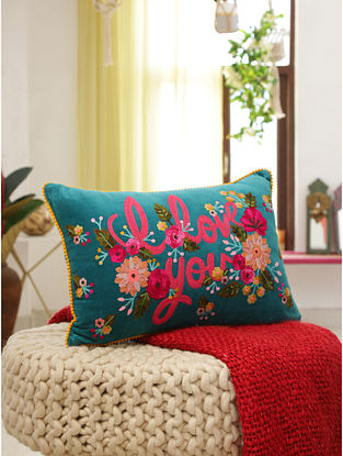 Embroidered Cushion Cover (L-20in,W-14in)