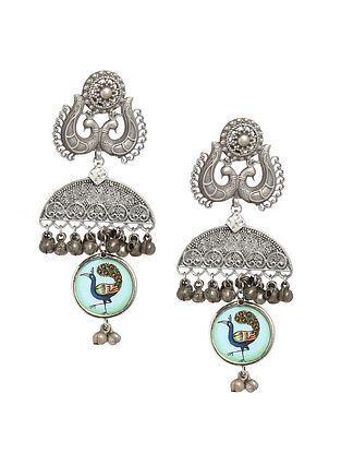Blue Multicolored Silver Tone Tribal Earrings