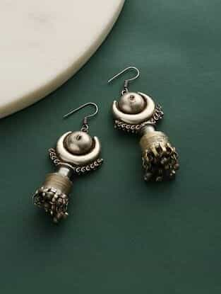 Silver Tone Tribal Jhumki Earrings