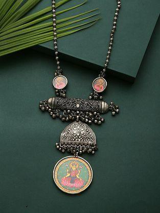 Multicolored Silver Tone Tribal Temple Necklace